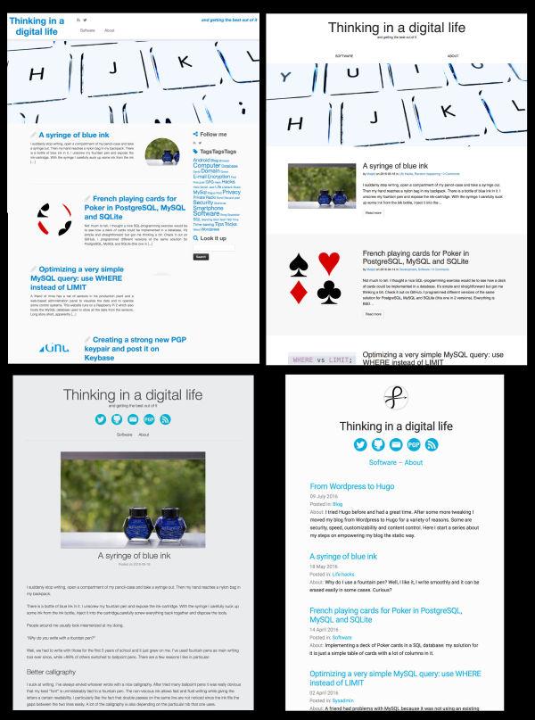The four themes the matjaz.it blog had so far